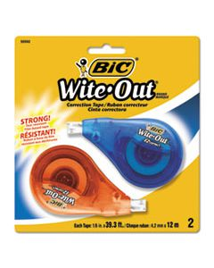 "BICWOTAPP21 WITE-OUT EZ CORRECT CORRECTION TAPE, NON-REFILLABLE, 1/6"" X 472"", 2/PACK"