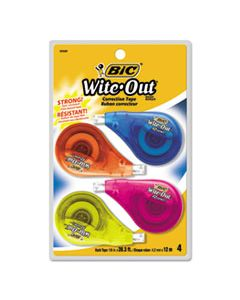 "BICWOTAPP418 WITE-OUT EZ CORRECT CORRECTION TAPE, NON-REFILLABLE, 1/6"" X 400"", 4/PACK"