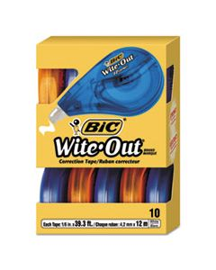 "BICWOTAP10 WITE-OUT EZ CORRECT CORRECTION TAPE, NON-REFILLABLE, 1/6"" X 472"", 10/BOX"