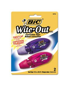 "BICWOMTP21 WITE-OUT MINI TWIST CORRECTION TAPE, NON-REFILLABLE, 1/5"" X 314"", 2/PACK"