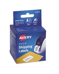 AVE4153 THERMAL PRINTER LABELS, THERMAL PRINTERS, 2.13 X 4, WHITE, 140/ROLL