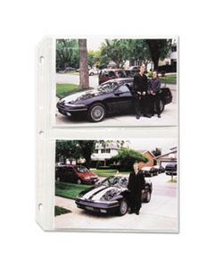 CLI52572 CLEAR PHOTO PAGES FOR FOUR 5 X 7 PHOTOS, 3-HOLE PUNCHED, 11-1/4 X 8-1/8