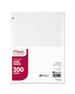 MEA15200 FILLER PAPER, 3-HOLE, 8 X 10.5, WIDE/LEGAL RULE, 200/PACK
