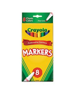 CYO587709 NON-WASHABLE MARKER, FINE BULLET TIP, ASSORTED COLORS, 8/PACK
