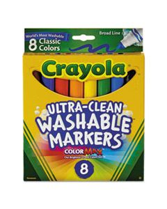 CYO587808 ULTRA-CLEAN WASHABLE MARKERS, BROAD BULLET TIP, CLASSIC COLORS, 8/PACK