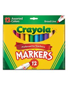 CYO587712 NON-WASHABLE MARKER, BROAD BULLET TIP, ASSORTED COLORS, DOZEN