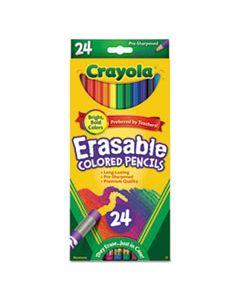 CYO682424 ERASABLE COLOR PENCIL SET, 3.3 MM, 2B (#1), ASSORTED LEAD/BARREL COLORS, 24/PACK
