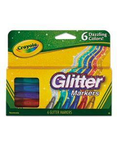 CYO588629 GLITTER MARKERS, MEDIUM BULLET TIP, ASSORTED COLORS, 6/SET