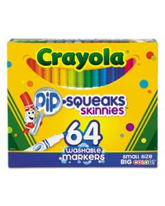 CYO588764 PIP-SQUEAKS SKINNIES WASHABLE MARKERS, MEDIUM BULLET TIP, ASSORTED COLORS, 64/PACK