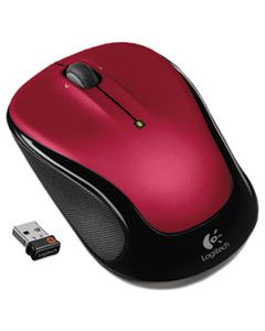 LOG910002651 M325 WIRELESS MOUSE, 2.4 GHZ FREQUENCY/30 FT WIRELESS RANGE, LEFT/RIGHT HAND USE, RED