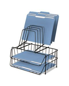 """FEL72391 WIRE DOUBLE TRAY WITH STEP FILE SORTER, 8 SECTIONS, LETTER SIZE FILES, 13.88"""" X 10.13"""" X 14"""", BLACK"""