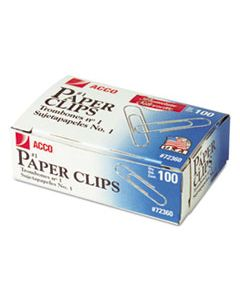 ACC72360 PAPER CLIPS, SMALL (NO. 1), SILVER, 100/BOX, 10 BOXES/PACK