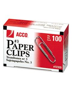 ACC72320 PAPER CLIPS, MEDIUM (NO. 3), SILVER, 1,000/PACK