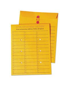 QUA63562 BROWN KRAFT STRING & BUTTON BOX-STYLE INTEROFFICE ENVELOPE, #97, TWO-SIDED THREE-COLUMN FORMAT, 10 X 13, BROWN KRAFT, 100/BOX