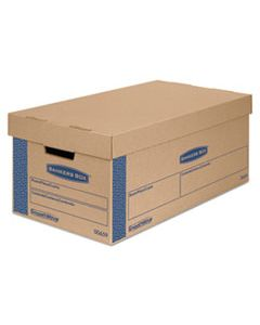 "FEL0065901 SMOOTHMOVE PRIME MOVING & STORAGE BOXES, SMALL, HALF SLOTTED CONTAINER (HSC), 24"" X 12"" X 10"", BROWN KRAFT/BLUE, 8/CARTON"