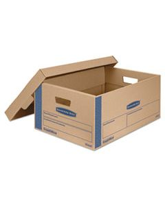 "FEL0066001 SMOOTHMOVE PRIME MOVING & STORAGE BOXES, LARGE, HALF SLOTTED CONTAINER (HSC), 24"" X 15"" X 10"", BROWN KRAFT/BLUE, 8/CARTON"