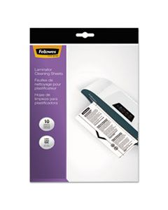 """FEL5320603 LAMINATOR CLEANING SHEETS, 3 TO 10 MIL, 8.5"""" X 11"""", WHITE, 10/PACK"""