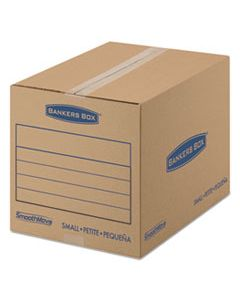 "FEL7713801 SMOOTHMOVE BASIC MOVING BOXES, SMALL, REGULAR SLOTTED CONTAINER (RSC), 16"" X 12"" X 12"", BROWN KRAFT/BLUE, 25/BUNDLE"