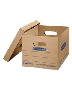 "FEL7714209 SMOOTHMOVE CLASSIC MOVING & STORAGE BOXES, SMALL, HALF SLOTTED CONTAINER (HSC), 15"" X 12"" X 10"", BROWN KRAFT/BLUE, 15/CARTON"