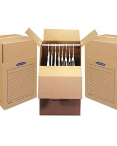 "FEL7711001 SMOOTHMOVE WARDROBE BOX, REGULAR SLOTTED CONTAINER (RSC), 24"" X 24"" X 40"", BROWN KRAFT/BLUE, 3/CARTON"