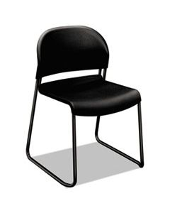 HON4031ONT GUESTSTACKER HIGH DENSITY CHAIRS, ONYX SEAT/ONYX BACK, BLACK BASE, 4/CARTON
