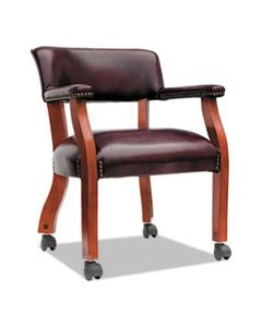 """ALETDC4336 ALERA TRADITIONAL SERIES GUEST ARM CHAIR WITH CASTERS, 24"""" X 24.5"""" X 29.5"""", OXBLOOD BURGUNDY SEAT/BACK, MAHOGANY BASE"""