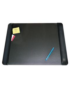AOP413841 EXECUTIVE DESK PAD WITH ANTIMICROBIAL PROTECTION, LEATHER-LIKE SIDE PANELS, 24 X 19, BLACK