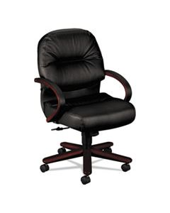 HON2192NSR11 PILLOW-SOFT 2190 MANAGERIAL MID-BACK CHAIR, SUPPORTS UP TO 300 LBS., BLACK SEAT/BLACK BACK, MAHOGANY BASE