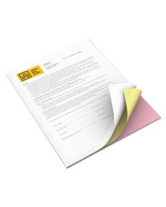 XER3R12854 VITALITY MULTIPURPOSE CARBONLESS 3-PART PAPER, 8.5 X 11, CANARY/PINK/WHITE, 5, 010/CARTON