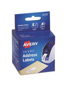 AVE4150 THERMAL PRINTER LABELS, THERMAL PRINTERS, 1.13 X 3.5, WHITE, 130/ROLL, 2 ROLLS/PACK
