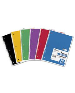 MEA05510 SPIRAL NOTEBOOK, 1 SUBJECT, WIDE/LEGAL RULE, ASSORTED COLOR COVERS, 10.5 X 7.5, 70 SHEETS