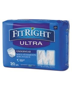 """MIIFIT23005A FITRIGHT ULTRA PROTECTIVE UNDERWEAR, MEDIUM, 28"""" TO 40"""" WAIST, 20/PACK"""