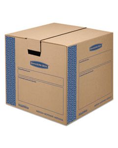 "FEL0062801 SMOOTHMOVE PRIME MOVING & STORAGE BOXES, MEDIUM, REGULAR SLOTTED CONTAINER (RSC), 18"" X 18"" X 16"", BROWN KRAFT/BLUE, 8/CARTON"