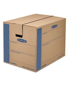 "FEL0062901 SMOOTHMOVE PRIME MOVING & STORAGE BOXES, REGULAR SLOTTED CONTAINER (RSC), 24"" X 18"" X 18"", BROWN KRAFT/BLUE, 6/CARTON"
