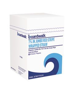 """BWKJSTW775S24 WRAPPED JUMBO STRAWS, 7 3/4"""", PLASTIC, RED W/WHITE STRIPE, 400/PACK, 25 PACKS/CT"""