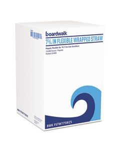 "BWKFSTW775W25 FLEXIBLE WRAPPED STRAWS, 7 3/4"", WHITE, 500/PACK, 20 PACKS/CARTON"