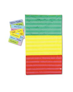 CDPCD5642 ADJUSTABLE TRI-SECTION POCKET CHART WITH 18 COLOR CARDS, GUIDE, 36 X 60