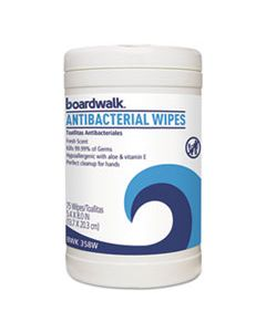 BWK458W ANTIBACTERIAL WIPES, 8 X 5 2/5, FRESH SCENT, 75/CANISTER, 6 CANISTERS/CARTON