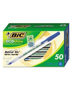 BICGSME509BE ECOLUTIONS ROUND STIC STICK BALLPOINT PEN, 1MM, BLUE INK, CLEAR BARREL, 50/PACK