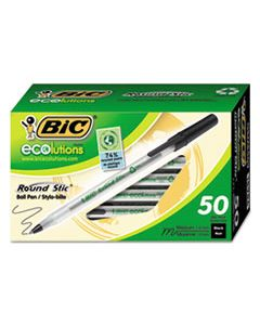 BICGSME509BK ECOLUTIONS ROUND STIC STICK BALLPOINT PEN, 1MM, BLACK INK, CLEAR BARREL, 50/PACK