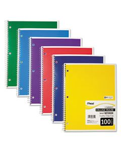 MEA06622 SPIRAL NOTEBOOK, 1 SUBJECT, MEDIUM/COLLEGE RULE, ASSORTED COLOR COVERS, 11 X 8, 100 SHEETS