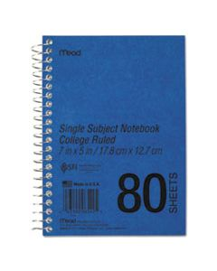 MEA06542 DURAPRESS COVER NOTEBOOK, 1 SUBJECT, MEDIUM/COLLEGE RULE, BLUE COVER, 7 X 5, 80 SHEETS