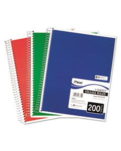 MEA06780 SPIRAL NOTEBOOK, 5 SUBJECTS, MEDIUM/COLLEGE RULE, ASSORTED COLOR COVERS, 11 X 8, 200 SHEETS