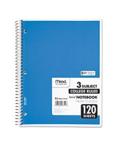 MEA06710 SPIRAL NOTEBOOK, 3 SUBJECTS, MEDIUM/COLLEGE RULE, ASSORTED COLOR COVERS, 11 X 8, 120 SHEETS