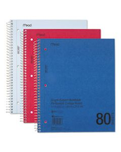 MEA06548 DURAPRESS COVER NOTEBOOK, 1 SUBJECT, MEDIUM/COLLEGE RULE, ASSORTED COLOR COVERS, 11 X 8.5, 80 SHEETS