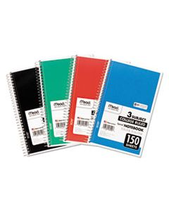 MEA06900 SPIRAL NOTEBOOK, 3 SUBJECTS, MEDIUM/COLLEGE RULE, ASSORTED COLOR COVERS, 9.5 X 5.5, 150 SHEETS