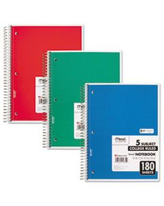 MEA05682 SPIRAL NOTEBOOK, 5 SUBJECTS, MEDIUM/COLLEGE RULE, ASSORTED COLOR COVERS, 10.5 X 8, 180 SHEETS