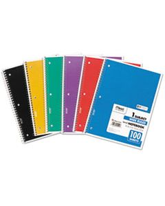 MEA05514 SPIRAL NOTEBOOK, 1 SUBJECT, WIDE/LEGAL RULE, ASSORTED COLOR COVERS, 10.5 X 7.5, 100 SHEETS