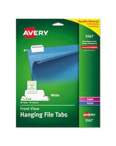 """AVE5567 LASER PRINTABLE HANGING FILE TABS, 1/5-CUT TABS, WHITE, 2.06"""" WIDE, 90/PACK"""