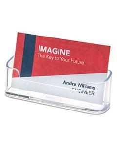 DEF70101 HORIZONTAL BUSINESS CARD HOLDER, 50 CARD CAP, 3 7/8 X 1 13/16 X 1 3/8, CLEAR
